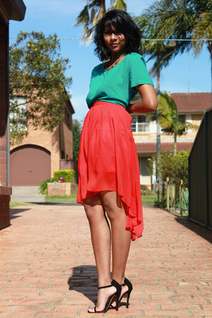coral asymmetric hem Primark skirt - aquamarine short sleeved Target top