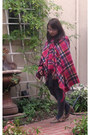 Hot-pink-poncho-cape-dark-gray-sweater-dress-dark-gray-knit-leggings