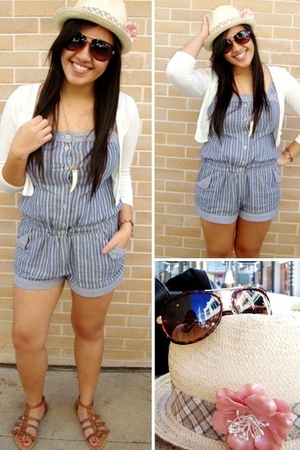 hat - Wet Seal glasses - Forever 21 necklace - blue Forever 21 shorts - shoes