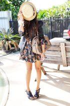 beige Sportsgirl hat - black Forever New blazer - green Dotti dress - black Gues