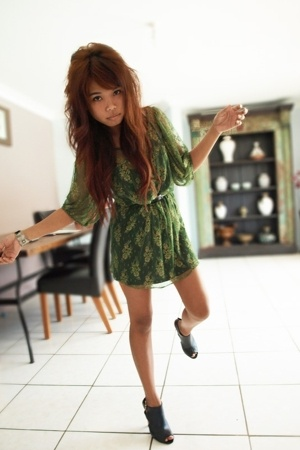 black Siren shoes - black worn underneath Luna dress - green lace supre dress