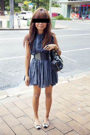 blue Karen Walker dress - black Gucci accessories - white Wittner shoes - black