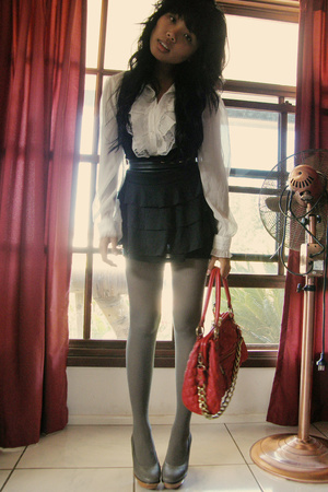 white blouse - black Luna worn as vest dress - red Wannabe Stam bag