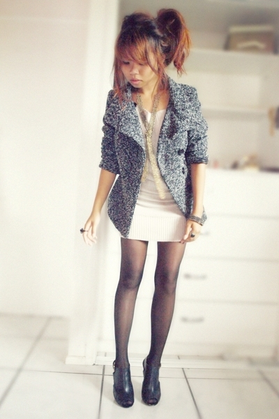 gray Moloola jacket - black Siren shoes - pink Kitty-Kat dress