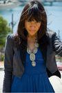 Blue-dress-gray-blazer-black-shoes-silver-necklace