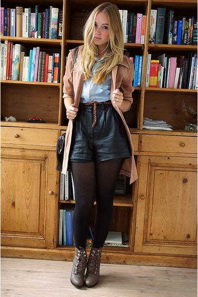 camel vintage coat - light brown H&M boots - dark brown Zara bag