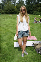 blue Zara shorts - brown H&M sunglasses - navy Converse sneakers