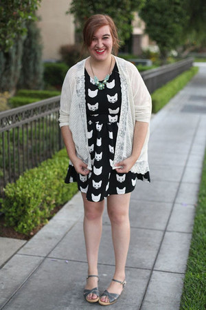 cat H&M dress - lace cream TJ Maxx cardigan - statement J Crew necklace
