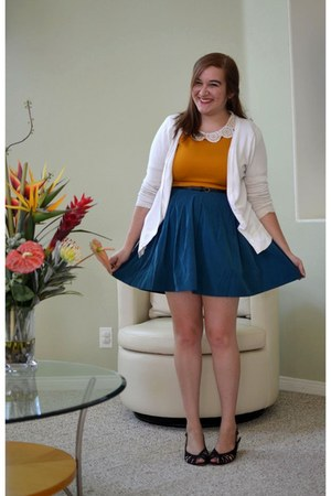 mustard modcloth top - thrifted shoes - white Target cardigan