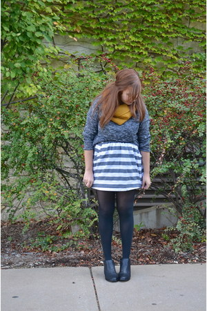 striped borrowed skirt - H&M sweater - mustard H&M scarf
