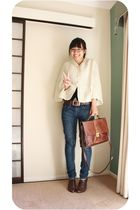 beige cardigan - blue Levis jeans - brown belt - brown shoes - brown accessories
