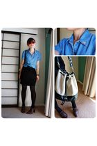 blue shirt - black skirt - brown shoes - beige accessories