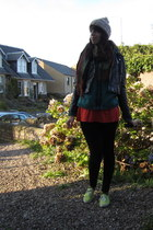 black stretchy jeans - black leather h&m via ebay jacket
