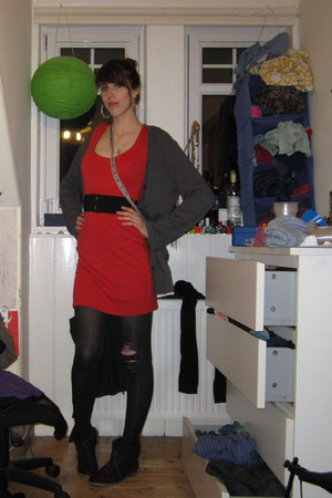 studded Primark boots - bodycon H&M dress - Primark belt - grampa cardigan