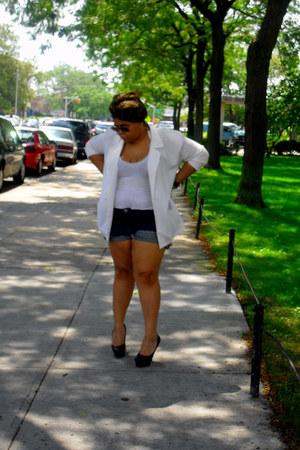 white blazer - blue shorts - black heels - white top