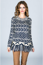 Blanket Knit Fringe Sweater