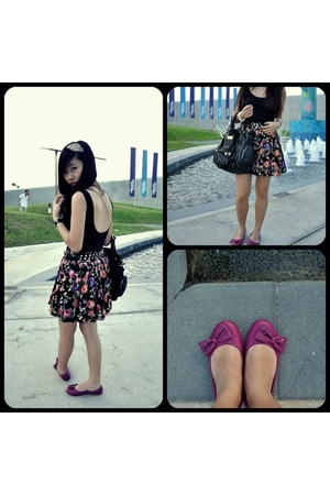 black Forever 21 skirt - purple go jane shoes - brown diva accessories