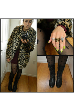brick red body con Forever 21 dress - dark gray combat boots Friends boots