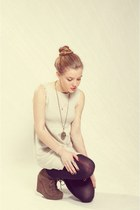 eggshell Zara dress - camel Topshop wedges - tan necklace