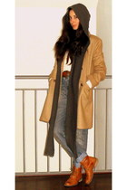 tawny Ulanka boots - camel BLANCO coat - blue Zara jeans - ivory Mango sweater -