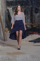 navy skirt - silver beaded blouse