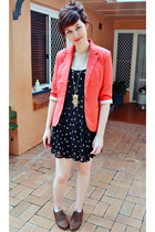 black Sportsgirl dress - coral Sunnygirl blazer - brown Dorothy Perkins flats