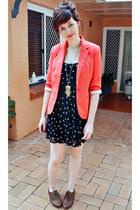 coral Sunnygirl blazer - black Sportsgirl dress - brown Dorothy Perkins flats
