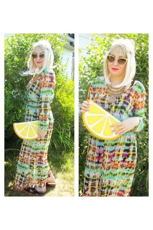 yellow tie dye Ebay dress - lemon clutch Monki bag