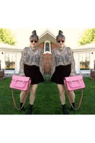 pink satchel Cambridge Satchel Company bag - black H&M boots - velvet Ebay skirt
