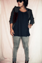 PacSun jeans - Forever 21 shirt - Forever 21 blazer - Wet Seal accessories - foe
