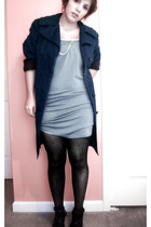 blue vintage coat - blue Urban Outfitters dress - gray Forever 21 tights - black