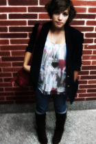 Ralph Lauren blazer - Forever 21 boots - D&G purse - abercrombie and fitch acces