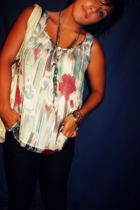 forever 21 blouse - foever 21 purse - forever 21 necklace - American Eagle jeans