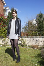 black leather Mango jacket - black boots Zara boots