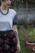 velvet River Island skirt - Yes Im French t-shirt - little beads H&M necklace