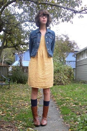 jacket - thrift dress - American Apparel socks - Maloles boots