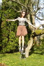 Gray-gap-shirt-brown-homemade-skirt-gray-vivienne-westwood-shoes-silver-ho