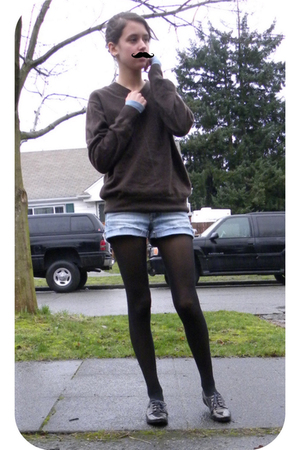 brown sweater - blue shorts - gray Pour La Victoire shoes - black DKNY tights