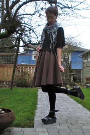 black cropped H&M shirt - dark brown circle homemade skirt - gray platform vivie