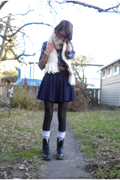 blue Nordstrom top - blue American Apparel skirt - gray American Apparel socks -
