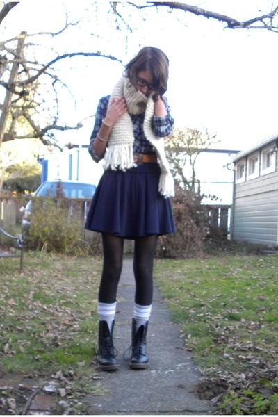 blue Nordstrom top - blue American Apparel skirt - gray American Apparel socks -