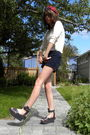 White-shirt-blue-american-apparel-shorts-gray-vivienne-westwood-shoes-red-