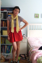 J Crew shirt - aa skirt - Gap scarf - Bakers shoes