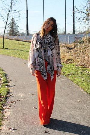 snake print Top Shop blouse - red palazzo Zara pants