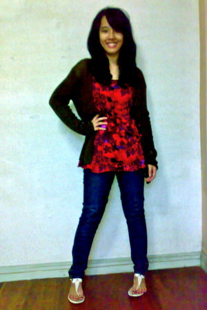 Forever 21 jeans - white Just G sandals - red floral thrifted blouse - dark brow