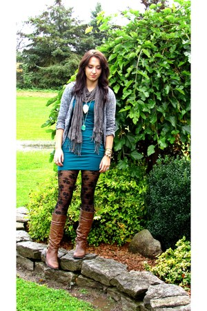 leather Sirens boots - jearsey Forever 21 dress - lace H&M tights