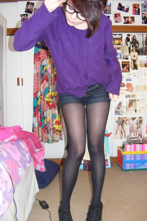 purple charity shop sweater - black Topshop shoes