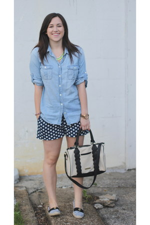 polka dots blue Jcrew shorts - chambray Jcrew blouse - tory burch flats