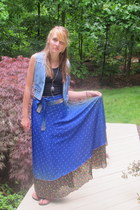 vintage vest - black PacSun top - blue unknown beach store skirt - black Birkens