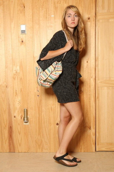 dark gray francescas dress - turquoise blue Urban Outfitters bag - black Birkens
